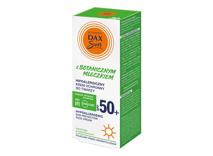 Hipoalergiczny krem ochronny do twarzy z botanicznym mleczkiem, zapobiegający przebarwieniom SPF 50+